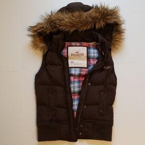 Hollister Puffer Vest, Faux Fur Detachable Hood